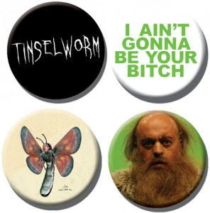 Tinselworm Button Badges